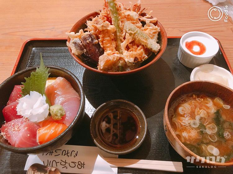 天丼(小)と海鮮丼(小)のセット